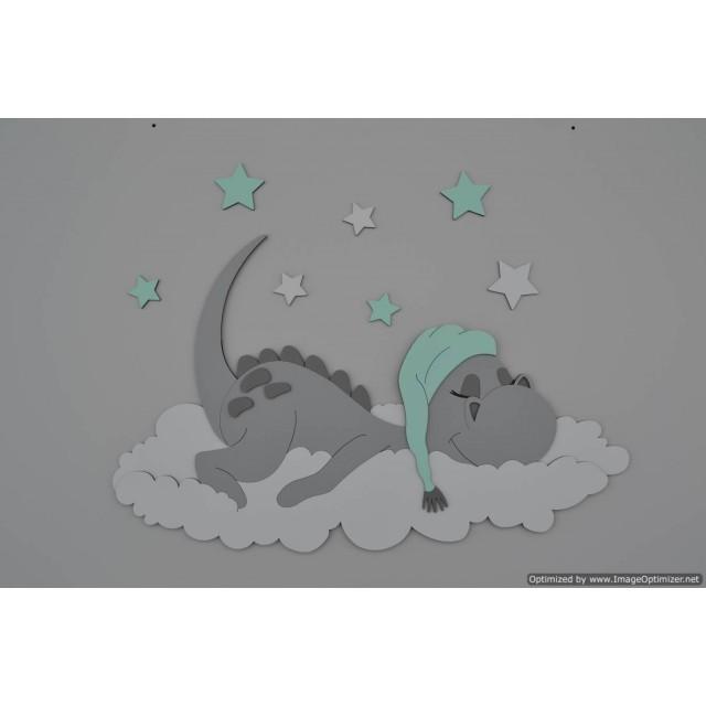 Muursticker slapend draakje  - te kiezen kleur (60x38cm)
