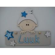 Naambord met kindje beige/babyblauw/helderblauw