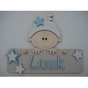 Naambord met kindje beige/babyblauw