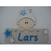Naambord met kindje beige/helder blauw/babyblauw