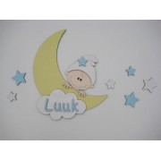 Maan met kindje en naam- geel/babyblauw