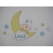 Maan met kindje en naam- geel/babyblauw/geel