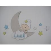 Maan met kindje en naam- beige/babyblauw/geel