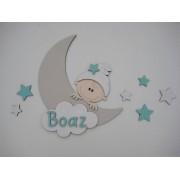 Maan met kindje en naam- beige/mint blauw