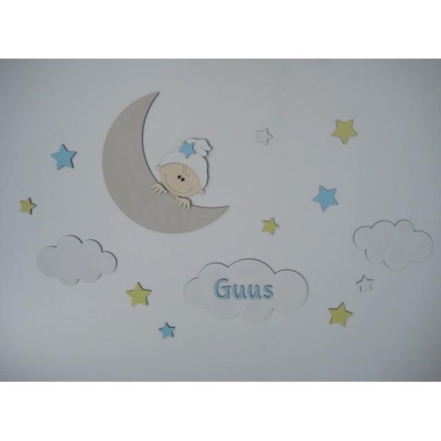 Maan met kindje, wolken, sterren en naam