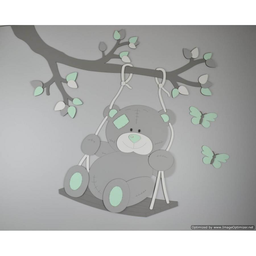 Muurstickers Babykamer Beertjes.Tak Met Schommelend Beertje En Vlinders Eigen Kleur 100x85cm