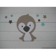 Pinguin met sterren- wit/beige/donkergrijs (24x33cm)