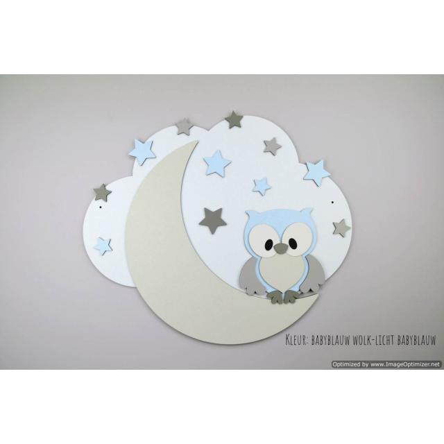 Bosuiltje op maan met sterren op wolk achterplaat-kleur te kiezen (57x50cm)