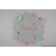 Vlinders met vogeltjes op achterplaat (rond) - baby roze/mintgroen (naam optioneel)
