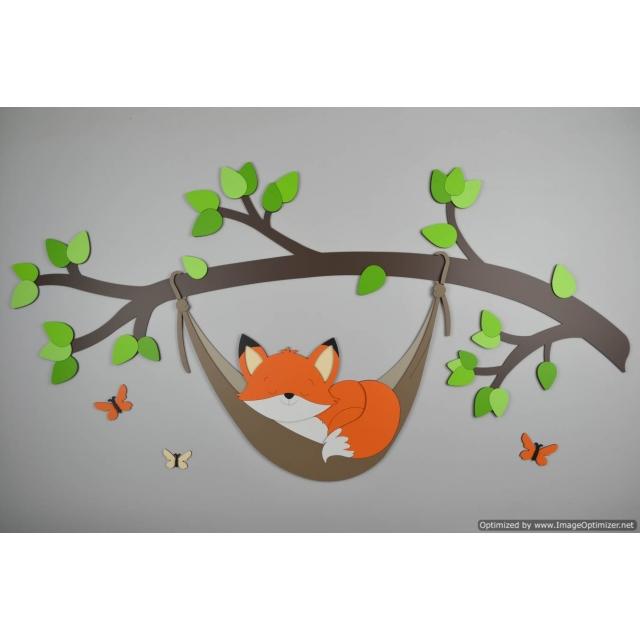 Tak met vosje in hangmat-lichte groentint bladeren (100x60cm)