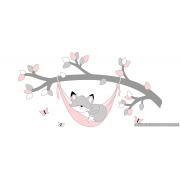 Tak met vosje in hangmat grijs met te kiezen kleur (100x60cm)