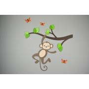 Tak met slingerd aapje en vlinders - groentinten (56x56cm)