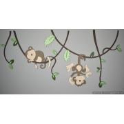 Aapjes aan lianen-bladeren in bos-groentinten (130x59cm)