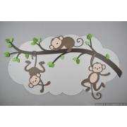 Tak met 2 slingerende aapjes en 1 slapend aapje op wolk achterbord (110x60cm)