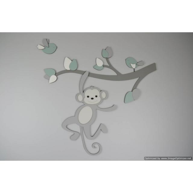 Tak met slingerd aapje en vogeltjes - te kiezen kleur (56x56cm)