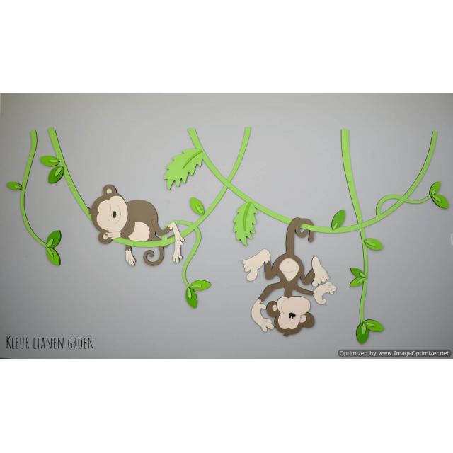 Aapjes aan lianen (130x59cm)