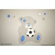 Beer met voetbal en sterren (kleur te kiezen) (43x50cm)
