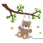 Tak met schommelend beertje - bruin - lichtgroene bladeren (90x80cm)