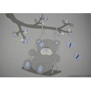 Tak met schommelend beertje en vlinders (eigen kleur) (100x85cm)