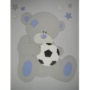 Beer met voetbal en sterren (kleur te kiezen) (50x59cm)