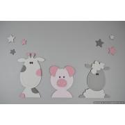 Boerderijdieren (3 stuks) koe-varken-schaap - kleur te kiezen (65x30cm)