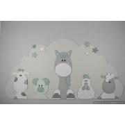 Boederijdieren (5st.) koe-varken-paard-kip-schaap  op wolk achterplaat- kleur te kiezen (116x60cm)