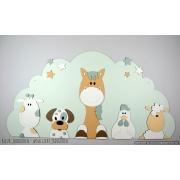 Boederijdieren (5st.) koe-hond-paard-kip-schaap  op wolk achterbord - beige met te kiezen kleur (116x58cm)