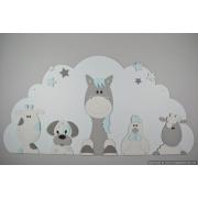 Boederijdieren (5st.) koe-hond-paard-kip-schaap  op wolk achterplaat- kleur te kiezen (116x60cm)