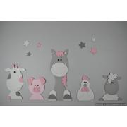 Boederijdieren (5st.) koe-varken-paard-kip-schaap  - grijs met te kiezen kleur (100x50cm)