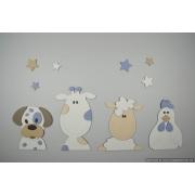 Boerderijdieren (4 stuks): kip-koe-hondje-schaap - beige (kleur te kiezen) (80x30cm)