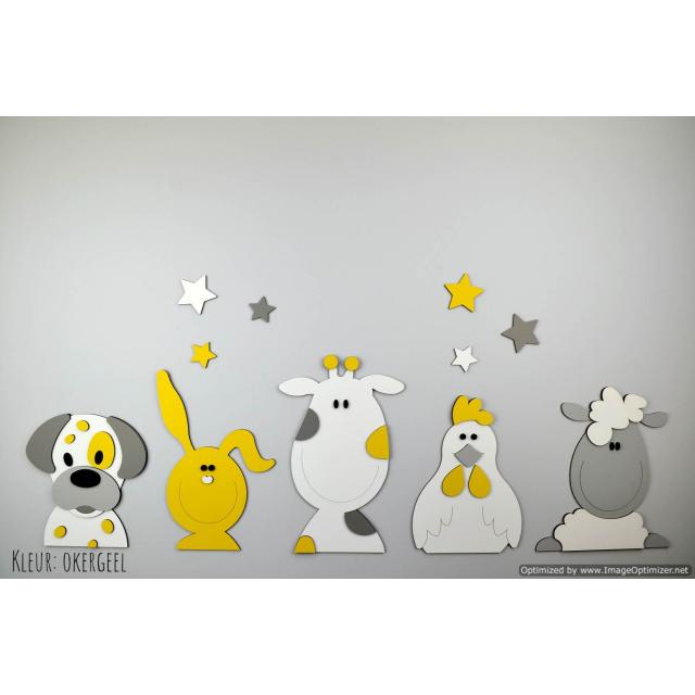 Boederijdieren (5st.) hond-koe-konijn-kip-schaap / te kiezen kleur (100x40cm)