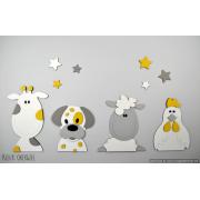 Boerderijdieren (4 stuks): kip-koe-hondje-schaap - grijs (kleur te kiezen) (80x30cm)