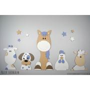 Boederijdieren (5st.) koe-hond-paard-kip-schaap  - beige met te kiezen kleur (100x50cm)