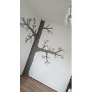 Hoek - boom met zijtakken, 3 uiltjes en eekhoorn  (kleurtint te kiezen) (150x250cm)