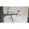 Hoekboom met zijtakken, 3 uiltjes en eekhoorn  (kleurtint te kiezen) (250x250cm)