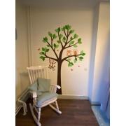 Vrijstaande boom-groene blaadjes (135x200cm) - diertjes optioneel