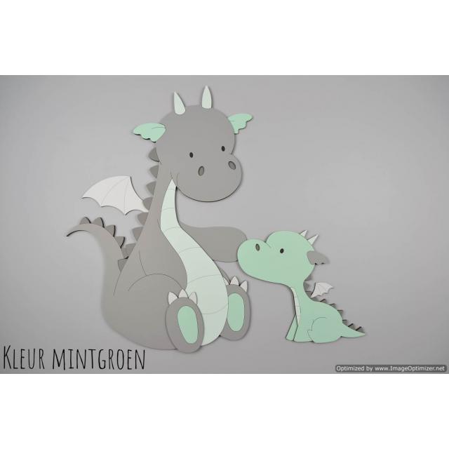 Draakje met babydraakje  (kleur te kiezen) (58x50cm)
