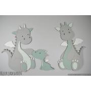 Draakjes met babydraakje  (kleur te kiezen) (92x54cm)