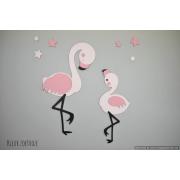Flamingo mama met kind  met sterren (50x60cm)