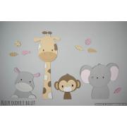 4 Jungle dieren nijlpaard, giraf,aap,olifant - beige met te kiezen kleur (95x55cm)
