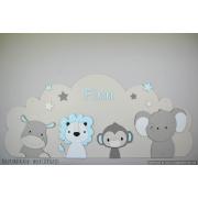 4 Jungle dieren nijlpaard, leeuw,aap, olifant  op wolk achterplaat- grijs met te kiezen kleur (118x50cm)