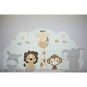 5 Jungle dieren op wolk achterbord (naam optioneel) -beige met te kiezen kleur (118x58cm)