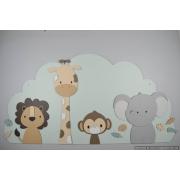 4 Jungle dieren op wolk achterbord (naam optioneel) -beige met te kiezen kleur (110x60cm)