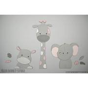 3 Jungle dieren nijlpaard, giraf en olifant - grijs met te kiezen kleur (86x55cm)