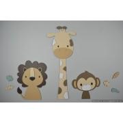 3 Jungle dieren leeuw, giraf en aap-beige met te kiezen kleur (58x55cm)