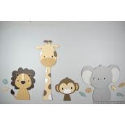 4 Jungle dieren leeuw, giraf,aap,olifant - beige met te kiezen kleur (95x55cm)