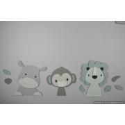 3 Jungle dieren nijlpaard, aapje en leeuw - grijs met te kiezen kleur (70x30cm)