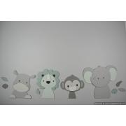 4 Jungle dieren nijlpaard, aapje, leeuw en olifant - grijs met te kiezen kleur (95x35cm)