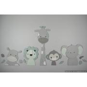 5 Jungle dieren nijlpaard, leeuw, giraf,aap,olifant - grijs met eigen kleur (115x55cm)