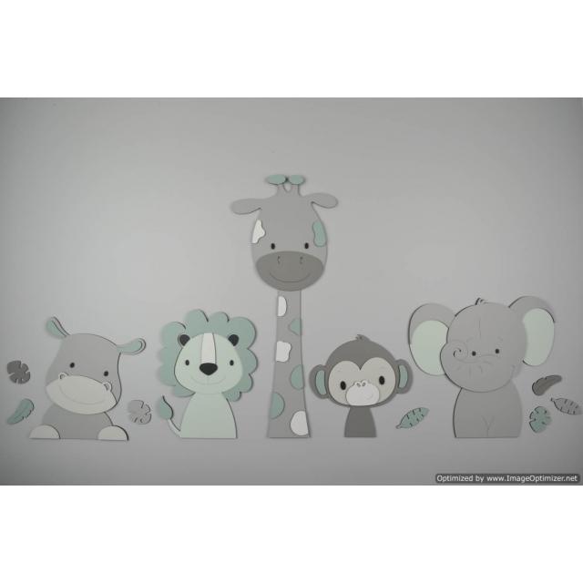 5 Jungle dieren nijlpaard, leeuw, giraf,aap,olifant - grijs met te kiezen kleur (115x55cm)